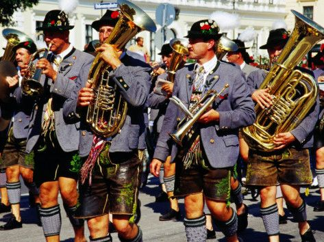 Male Marching Band in Traditional Costume During Oktoberfest, Munich, Germany