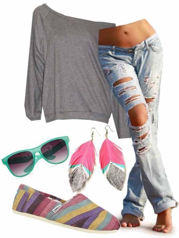 .jeans troué/ hippie style