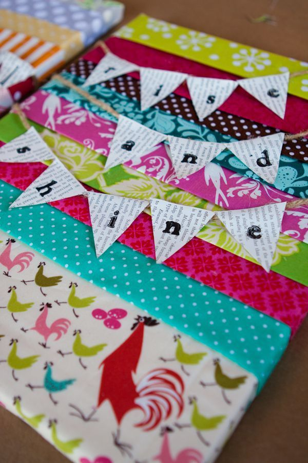 canvas hot glued fabric strips to the back of their canvas or decoupage fabric down. Letters stamped or stickies