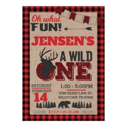 Wild One First Birthday Lumberjack Buffalo Plaid Card - birthday invitations diy customize personalize card party gift