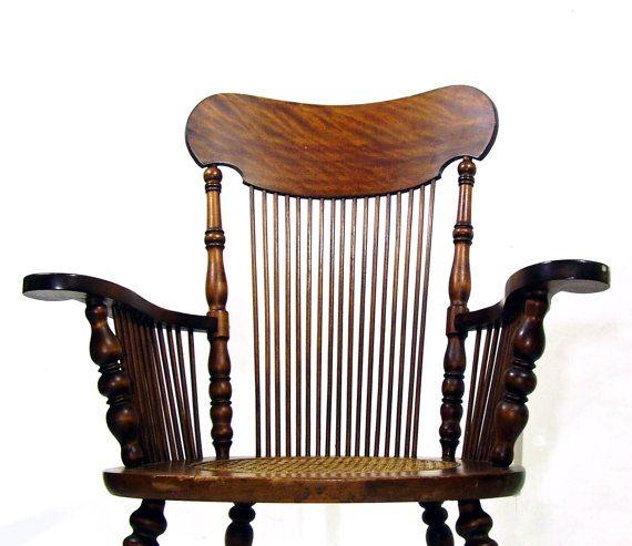 Antique Rocking Chair Tiger Oak Wooden Rocker Cane Seat