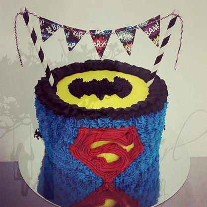 Batman and Superman Cake
