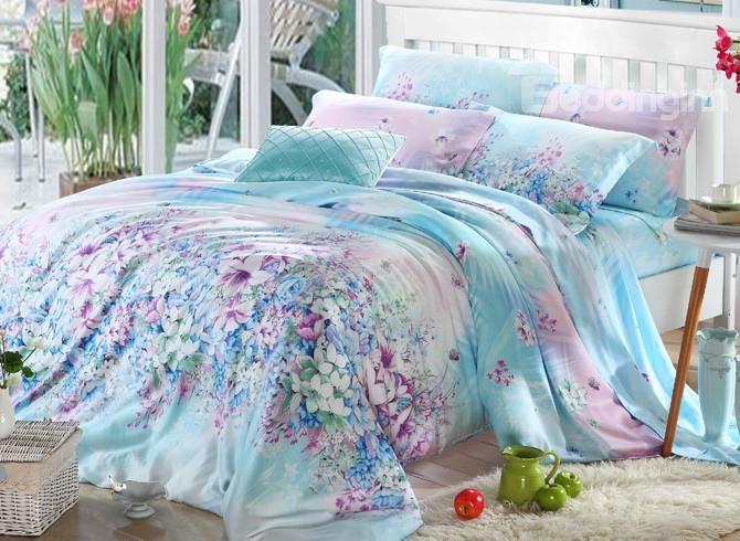 High Quality Pastoral Blue Floral 4 Pieces Tencel Bedding Sets