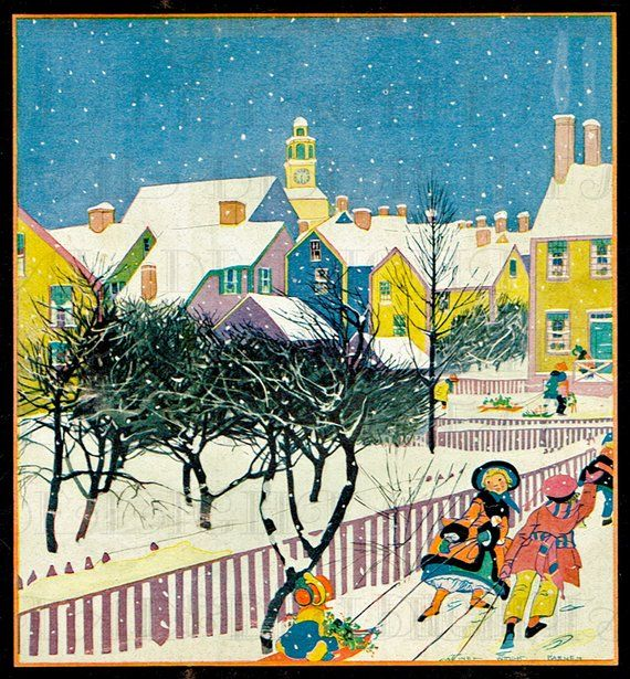 Christmas Illustrations Vintage.Candy Colored Houses Vintage Christmas Illustration