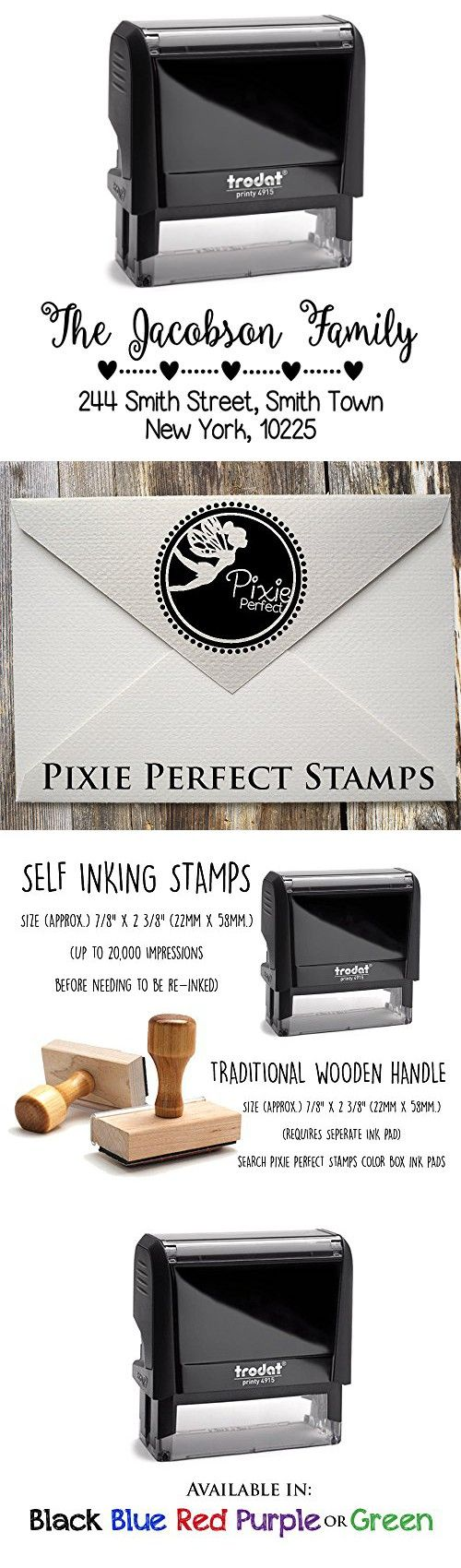 Black Ink, Hearts with Dots Divider, Custom Self Inking Return Address Stamp Personalized, Business Office Stamps, Brilliant Gift for Engagement, Newlyweds, Family, Wedding or Housewarming