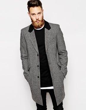 ASOS Wool Overcoat In Dogtooth - Grey