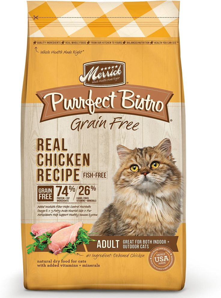 44.9% protein - Put some bistro-inspired yumminess in your pal's bowl with the Merrick Purrfect Bistro Grain-Free Real Chicken Recipe Adult Dry Cat Food. It's packed with animal protein from chicken and turkey meals, and mixed with wholesome produce like peas, sweet potatoes and alfalfa. Loaded with antioxidants to support immunity, omegas for a healthy skin and coat, plus vitamins, minerals and taurine in every bite, it's sure to fuel all your kitty's adventures, and then yum! Plus, it has…