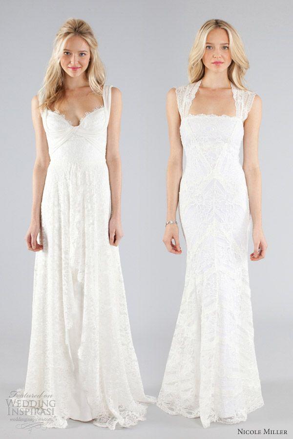 nicole miller bridal fall 2013 lace wedding dress cap sleeve straps