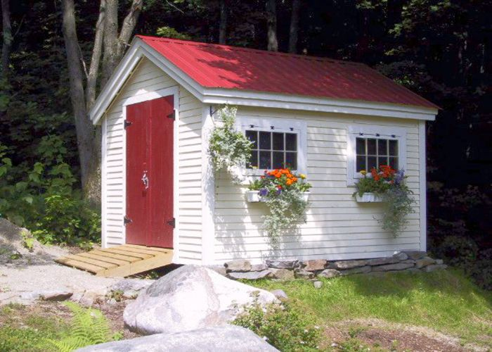 Check out this charming gable shed with windows from Jamaica Cottage Shop. It's both spacious and heavy duty! Find quality shed kits online today.