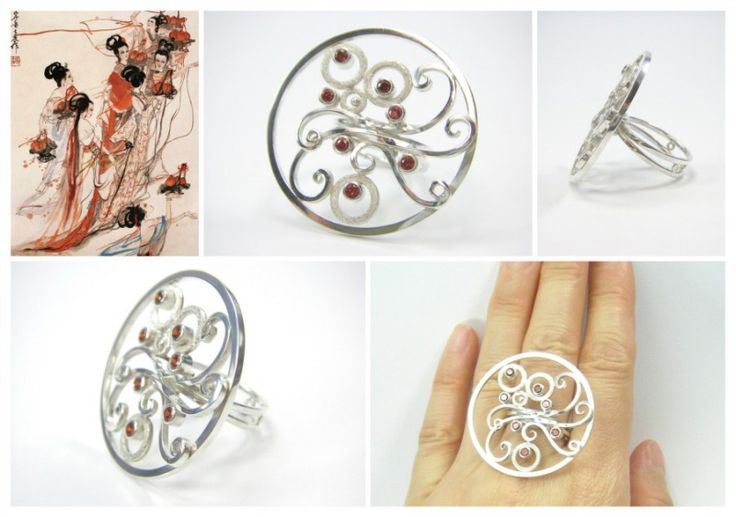 """"""" The Seven Fairy Maidens"""", cocktail ring. Sterling silver, garnet. Size 6 3/4. Inspired by Chinese fable."""