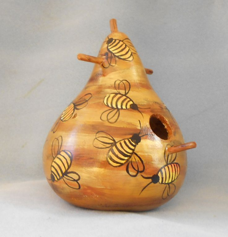 Gourd Bee Hive Art Hand Painted Bird House by HouseOfGourds on Etsy