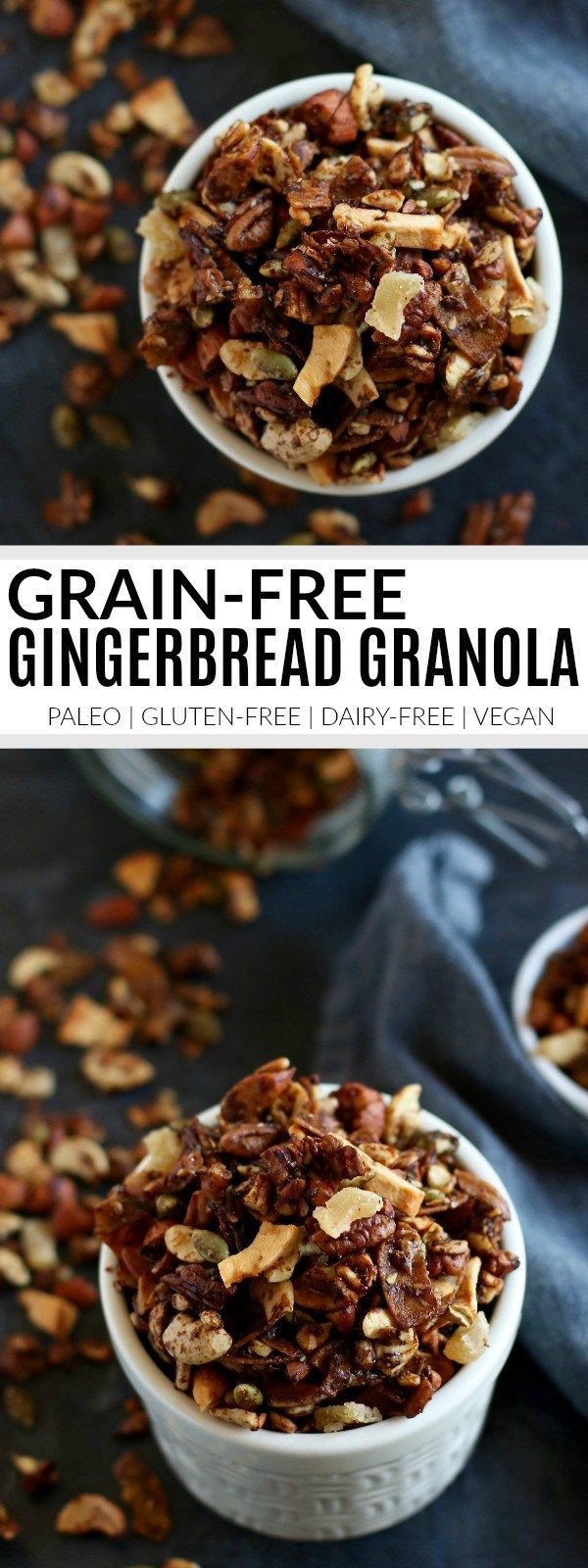 Grain-free Gingerbread Granola | https://therealfoodrds.com/grain-free-gingerbread-granola/