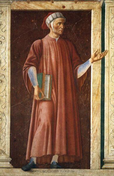 Dante Alighieri, #pintura de Andrea del Castagno (h 1450) conservada en la Galería de los Uffizi (Florencia)