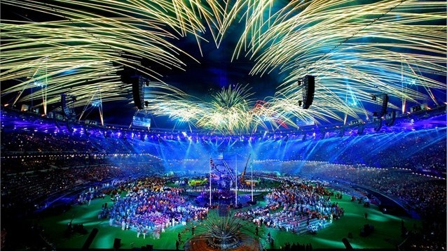 Fireworks light up the Olympic Stadium at the Closing Ceremony of the London 2012 Paralympic Games.