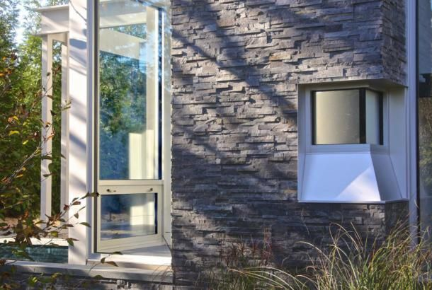 Charcoal Rock Panel | Natuurlijk gestapelde stenen fineer voor Wall Bekleding