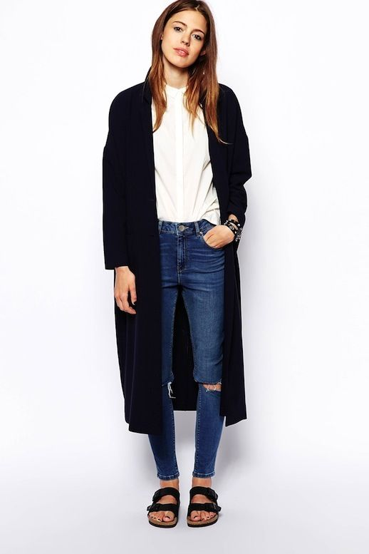 Long Jacket, White Button-Down Shirt, Ripped Jeans & Birkenstocks #style #fashion #fallstyle