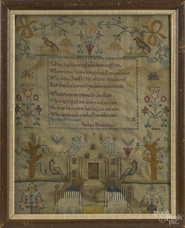 Silk on linen sampler, dated 1797, probably Scottish, inscribed George and Jean Hercules and Barbara Hendarson