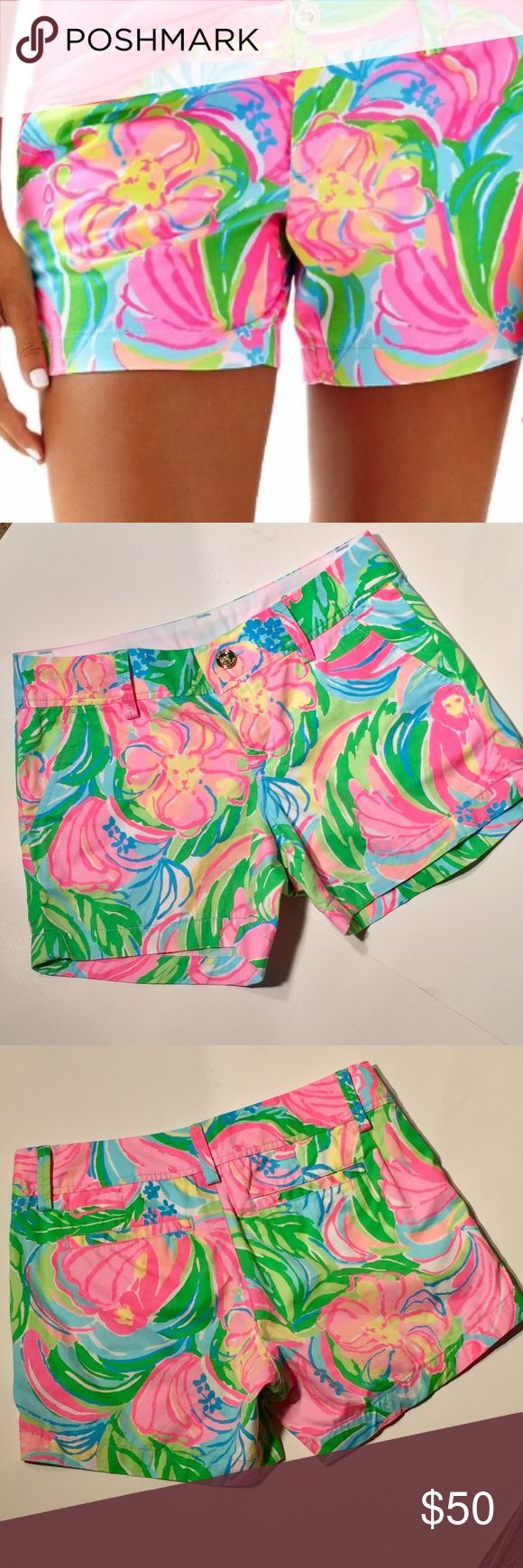 """Lilly pulitzer Callahan shorts Callahan shorts has flawless fit, The unique beach Twill fabric observes color and displays print beautifully. 5 inch inseam zip fly short with center front button closure. Belt loops slant front pockets and back welt pocket.                                         print in Multi """"So-A-Peeling"""" size 2 EUC Lilly Pulitzer Shorts"""