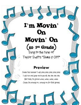 "To the tune of ""Shake it Off"", your kinder kiddos will absolutely love this rendition as they shake it to the beat at the end of the year kindergarten program.LYRICS ONLYFor music, I simply bought the karoke soundtrack for Shake it Off so we would have musical accompaniment."
