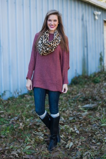 """Those drab colored sweater better *mauve* on over, because this over-sized beauty is on the scene! We love the long, loose trendy fit because it is flawless for those leggings days!   Material has generous amount of stretch. You might want a cami handy with this one! :)  Haylee is wearing the small.   Sizes fit:  Small- 0-4; Medium- 6-8; Large- 10-12   Length from shoulder to hem: S- 30.5""""; M- 31.5""""; L- 32.5"""""""