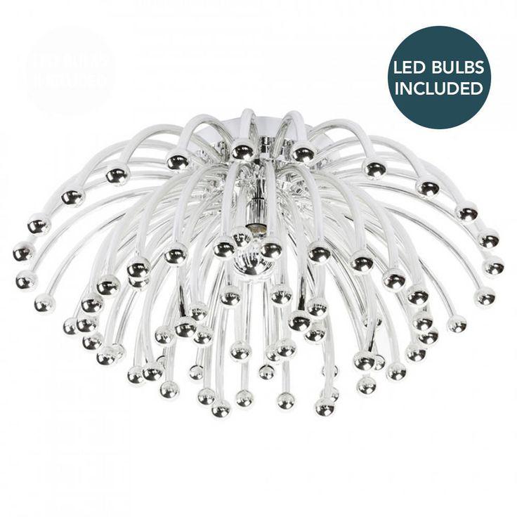 Replica circa 1960 Flush Ceiling Light with LED Bulbs