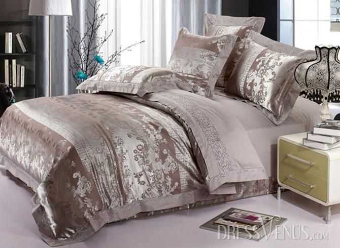 US$121.99 Cities Style Silver Gray 4 Piece Embroidery Satin Bedding Sets with Jacquard. #Modern #Cities #4 #Silver