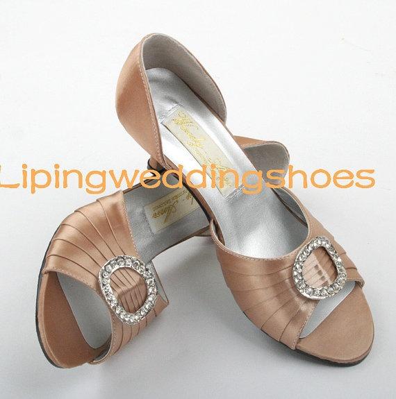 Champagne Low Heels Peep Toe Wedding Shoes Bridesmaid