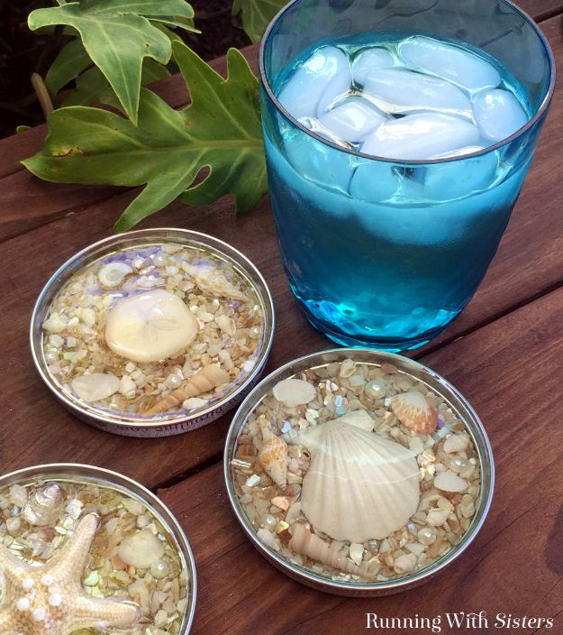 DIY Coasters - Seashell Coasters Made With Resin - Best Quick DIY Gifts and Home Decor - Easy Step by Step Tutorials for DIY Coaster Projects - Mod Podge, Tile, Painted, Photo and Sewing Projects - Cool Christmas Presents for Him and Her - DIY Projects and Crafts by DIY Joy http://diyjoy.com/diy-coasters