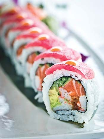 The Joe Muer Roll: Salmon, shrimp, avocado, cucumber, crab, kampyo, tuna, spicy mayo, and tempura crunch flakes.