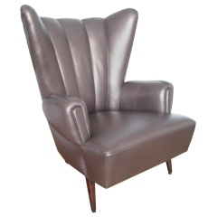 1950s wingback chair silver