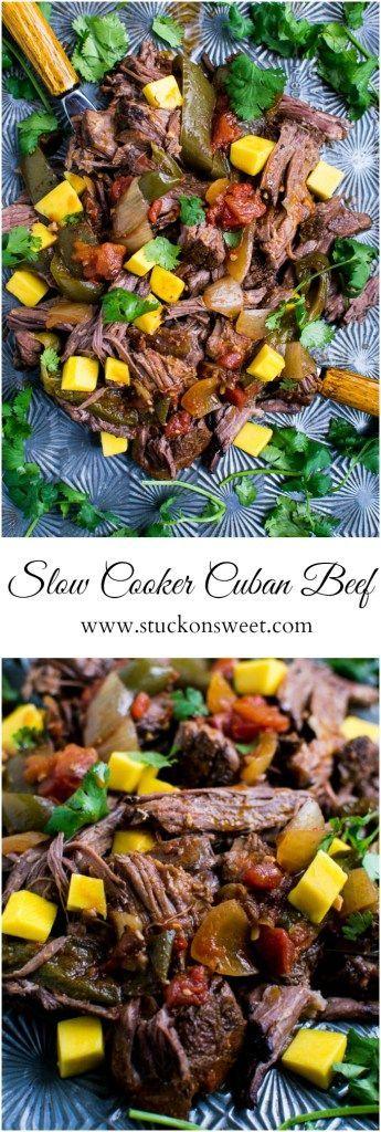 Slow Cooker Cuban Beef | Easy weeknight recipe | www.stuckonsweet.com