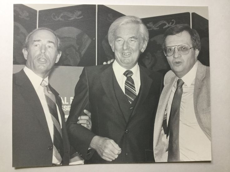 1981 original professional B&W photograph of Richard DeVos, Jay Van Andel with Larry King by Hannahandhersisters on Etsy