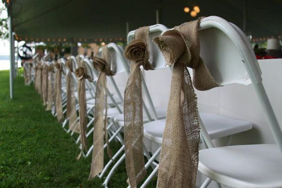 chair bows: Chairs Decor, Burlap Ideas, Chairs Bows, Burlap Chairs, Wedding Blog, Wedding Chairs, Chairs Ideas, Burlap Rosette, Burlap Wedding