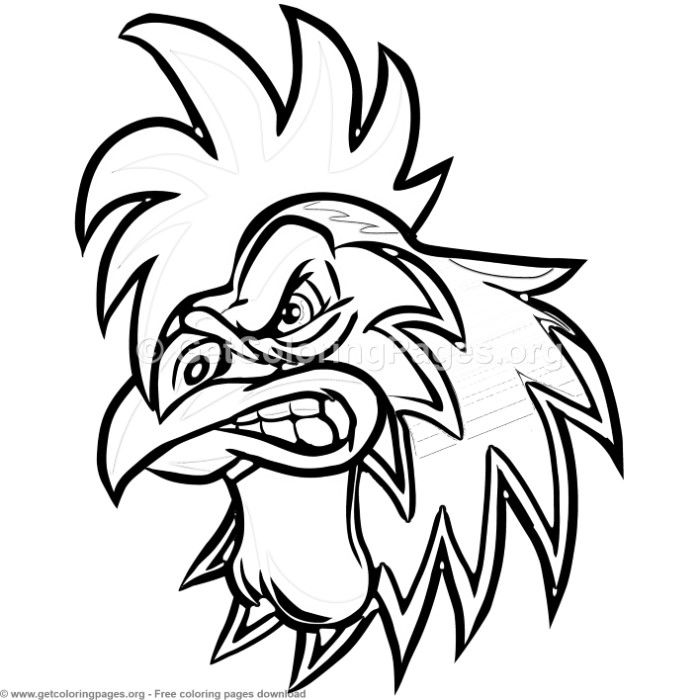 Angry Cartoon Rooster Head Coloring Pages Free Instant Download