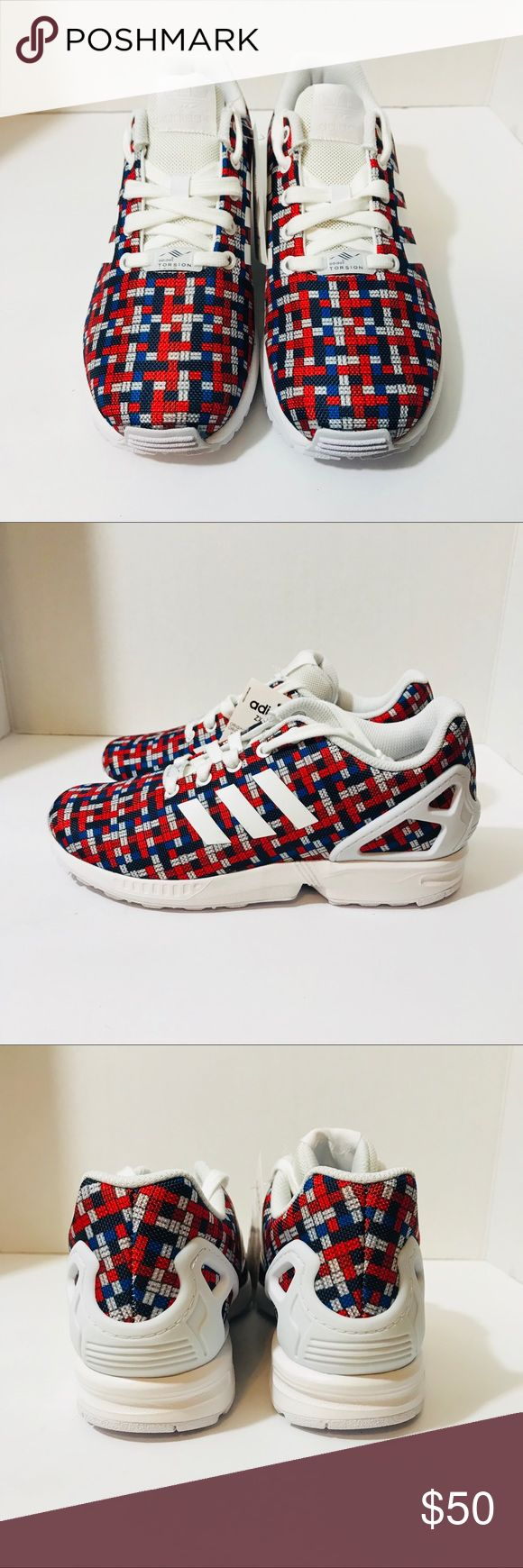Adidas ZX Flux Kids Sneakers Adidas ZX Flux Red White & Blue Square Print Sneakers Size 5.5 Big Kids Grade School Sizing Brand New With Original Box adidas Shoes Sneakers