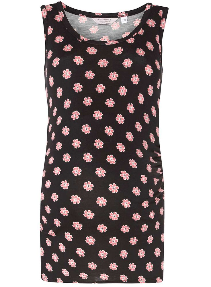 Womens **Maternity Black And Pink Floral Printed Top- Black