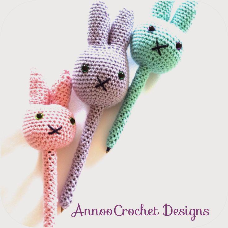 Crocheted Bunny Pen Buddy - FREE Crochet Pattern and Tutorial