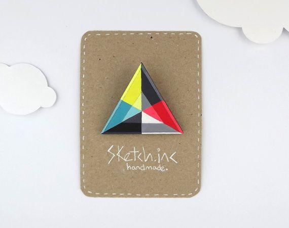 Geometric Modern Brooch Triangle - Kaleidoscope