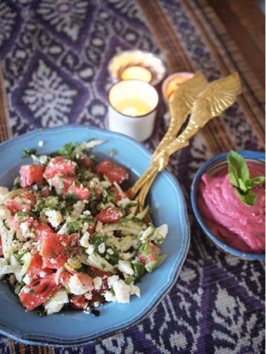 Summer salad of watermelon, feta, mint, fennel, pumkin seeds & beetroot and wasabi hummus.