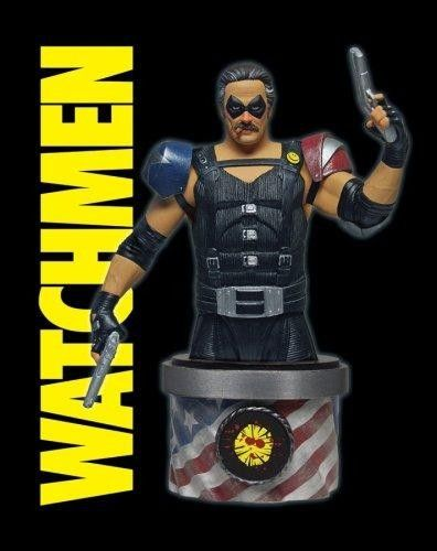 Watchmen  Comedian Bust  Start the final countdown! It s The #Comedian from the #Watchmen #movie! Highly detailed, #collectible #bust. Pick him up today! Start the final countdown! This hand-painted, cold-cast porcelain bust of The Comedian features a patriotic, waving-flag base with a Doomsday Clock depicted on the back.