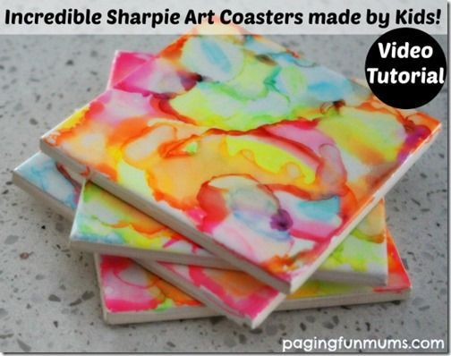 Sharpie Coaster Craft for Kids - what a fun, creative and unique craft for kids. It would make a great kid made gift for grandparents for birthday or Christmas. LOVE THIS!
