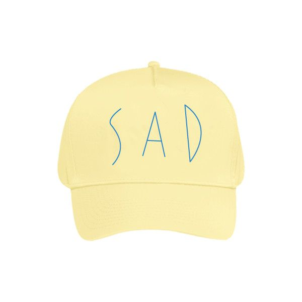 【AZS】SAD CAP (PALE YELLOW) ($42) ❤ liked on Polyvore featuring accessories, hats, cotton hats, 5 panel cap, yellow cap, yellow hat and 5 panel hat