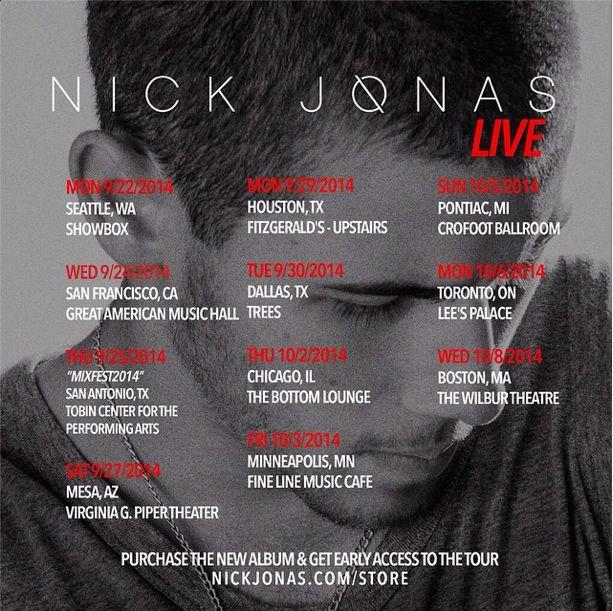 nick jonas tour dates concert album