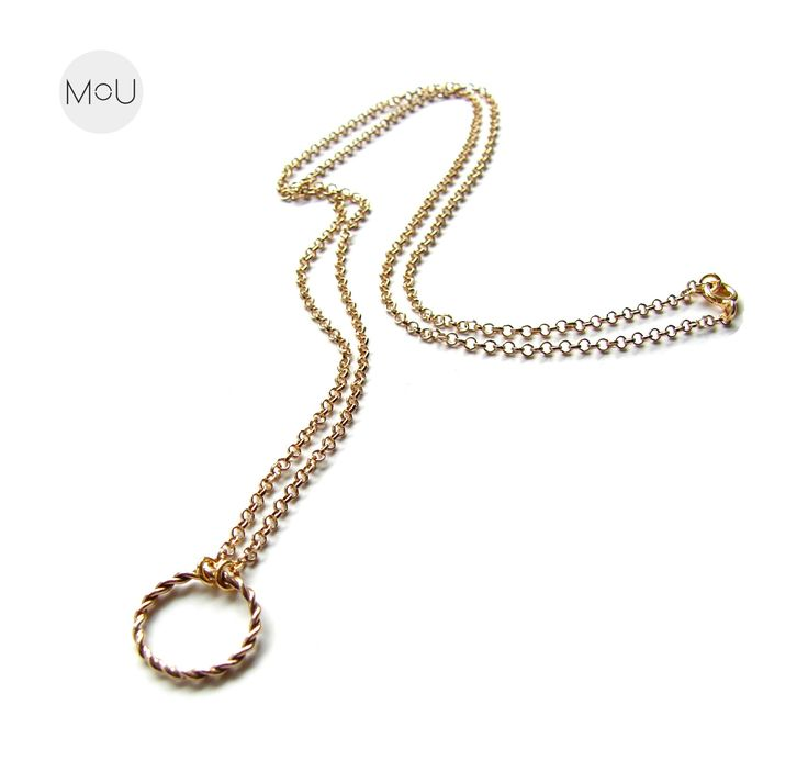 Minimal necklace made entirely of sterling silver gold-plated with classy Wreath pendant by MOU