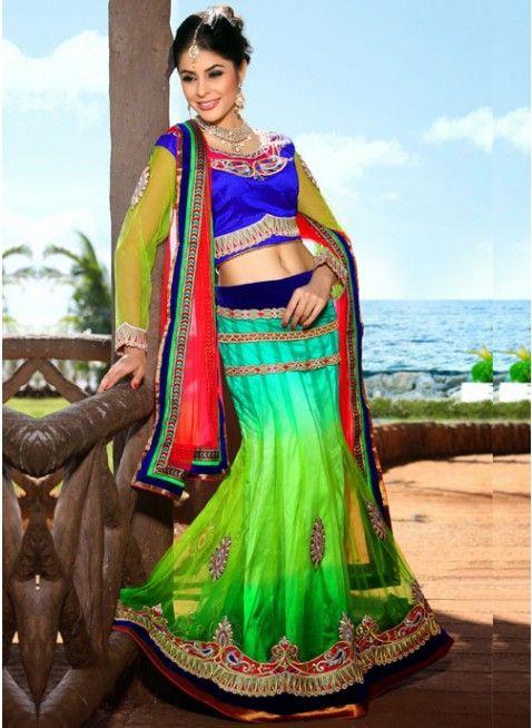 Mesmerizing Greenish Blue & Lime Green Color Net Based #Lehenga #Choli