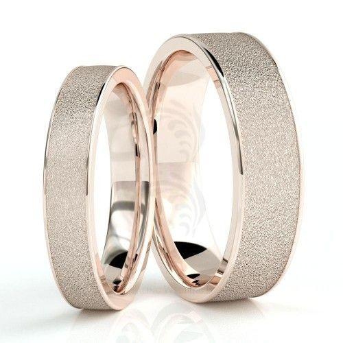 10k Rose Gold Polish Sandstone Couples Wedding Rings 4mm, 6mm 02252