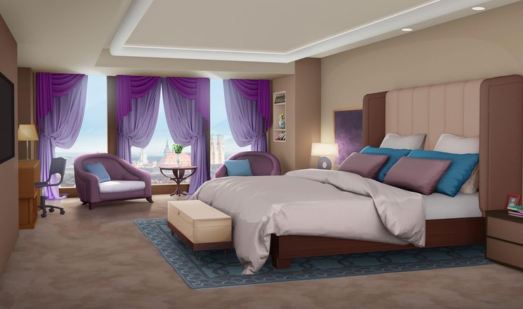 Int euro hotel room day episode backgrounds for Cute hotel rooms