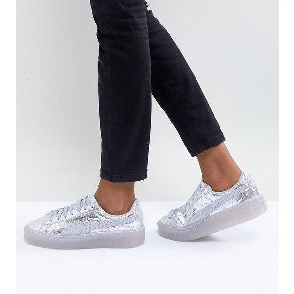 Puma Metallic Basket Platform Sneakers In Silver ($84