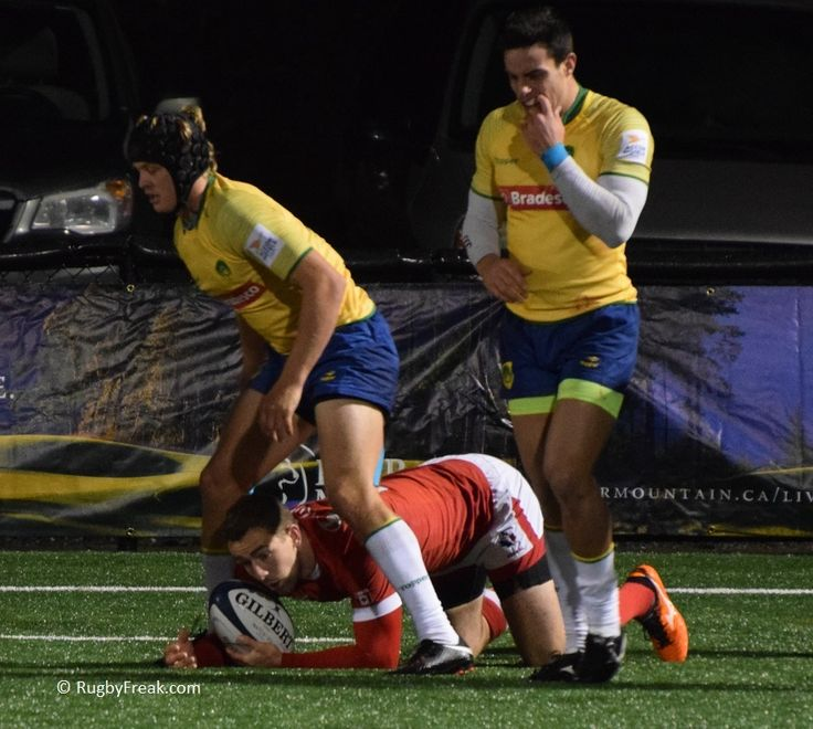 We're not sure how he ended up here - looks like a rugby version of leapfrog! #rugbyfreak #sofreaky #loverugby #rugby #ARC #rugbycanada #teamcanada #teambrazil