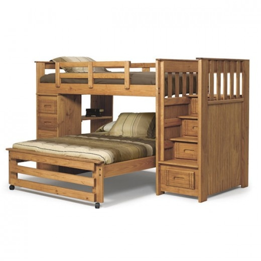 Woodcrest Woody Creek Twin Full Stairway Bunk With 4